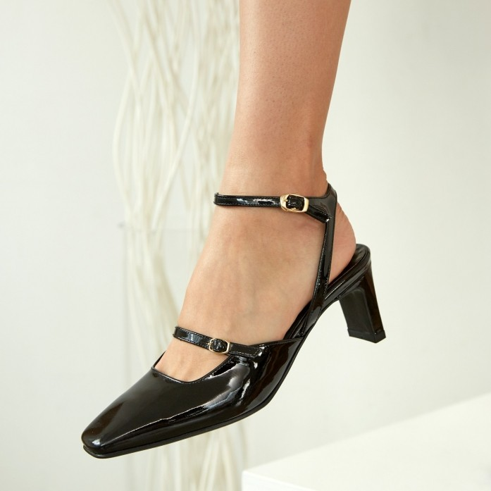 Square Toe Strap Slingback MD20FW1066-Black