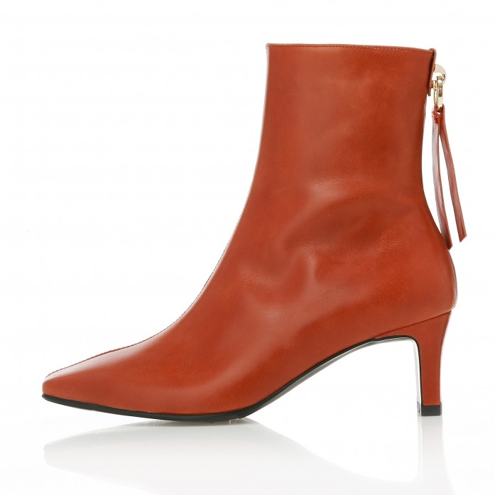 Square Toe Point Ankle Boots MD20FW1070-Tan Brown
